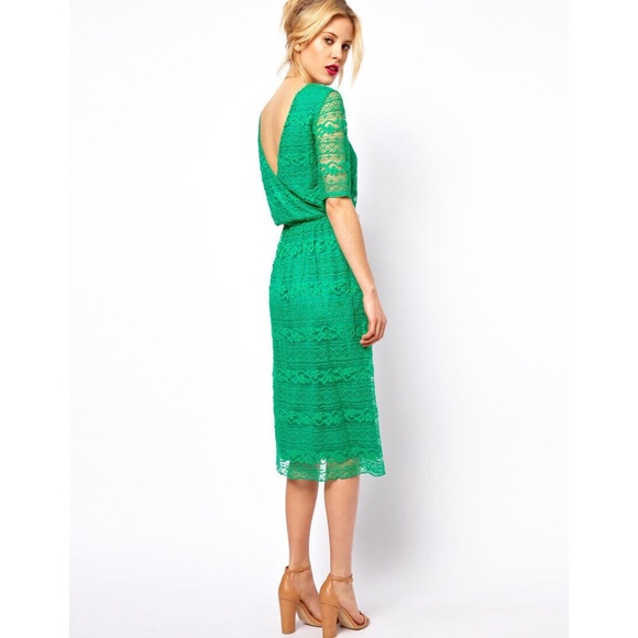 199e322a7bde6 ASOS Dresses   Skirts - ASOS Green Lace Midi Dress